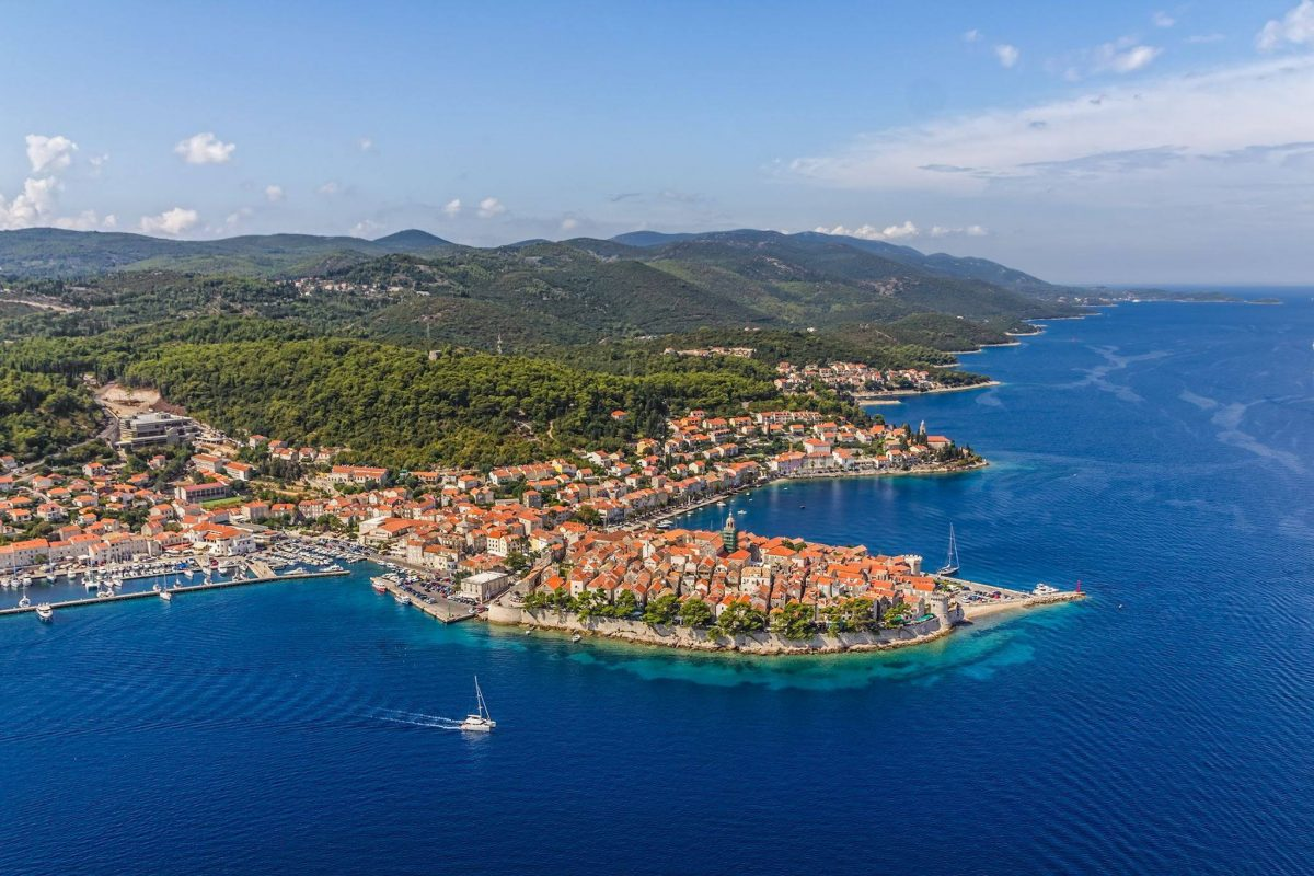 aerial panorama of Korčula and the surrounding