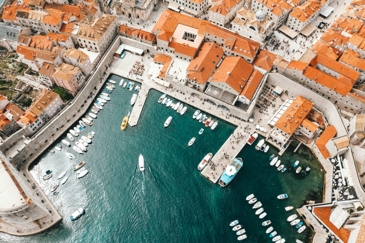 aerial image of the Dubrovnik port
