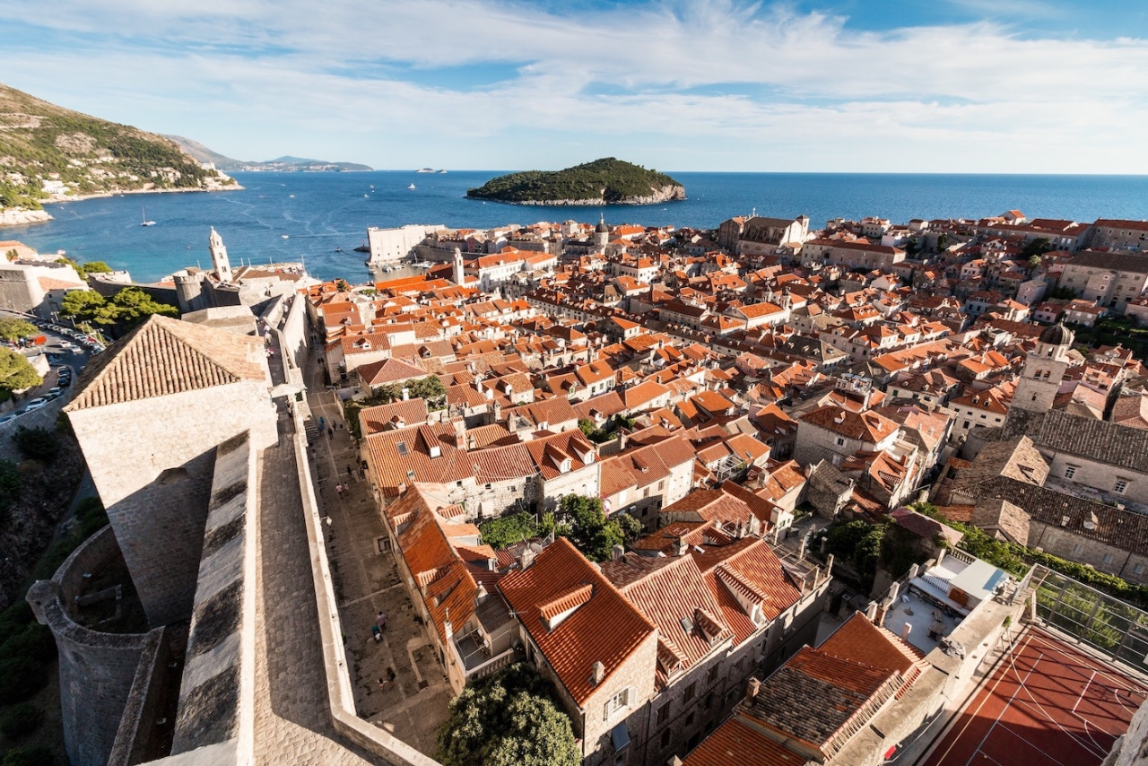 Aerial photo of Dubrovnik and Lokrum from the city walls