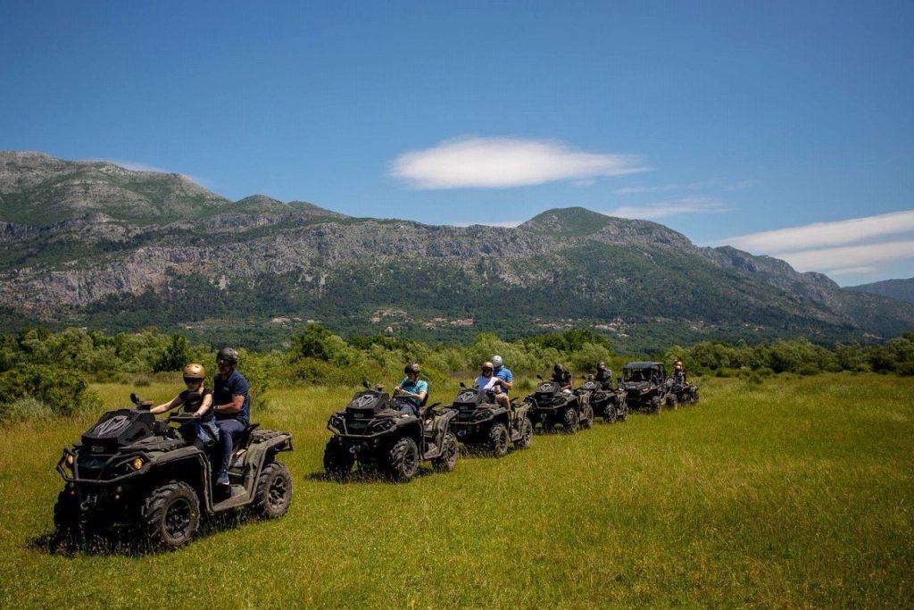 line of buggies during a safari tour