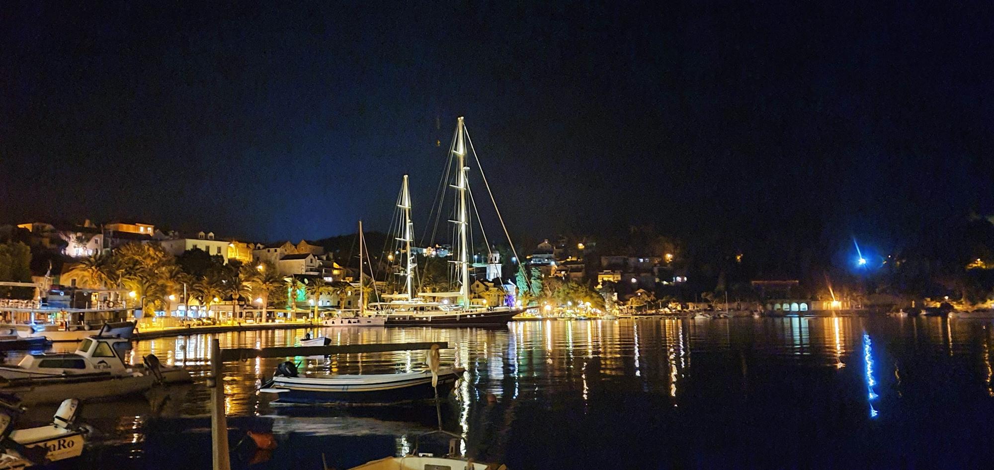 panorama of the Cavtat waterfront at night