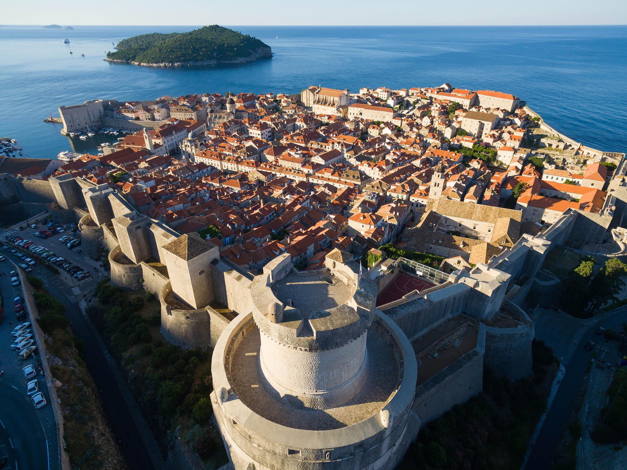 Aerial image of Dubrovnik and Lokrum