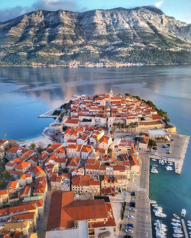 aerial image of Korčula